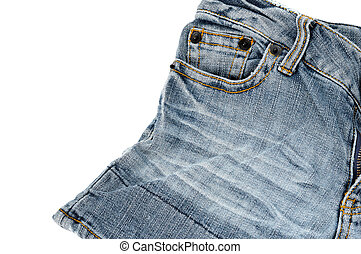mini jeans for woman on white background