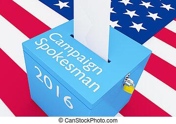 Campaign Spokesman 2016 election concept - 3D illustration...