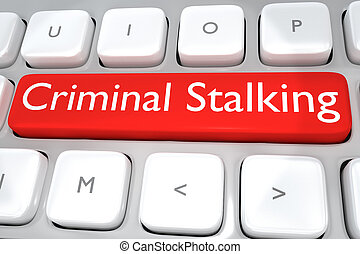 Criminal Stalking concept - 3D illustration of computer...