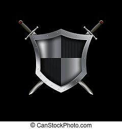 medieval, rebitado, escudo, e, swords.,