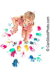 Cute little girl making colorful ha - Portrait of a cute...