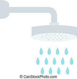 Beautiful bath with shower and soap cartoon flat illustration.