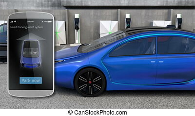 Using smart phone apps to parking car without driver...