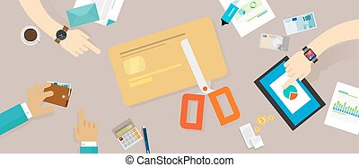 cut credit card loan debt personal family finance vector