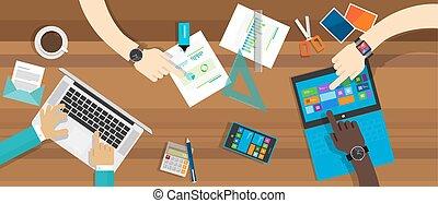 desk collaboration working together table computer desk