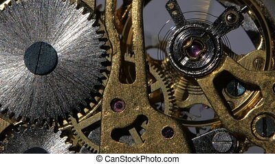 Inside a clock. Close up - Mechanical watch, working clock...