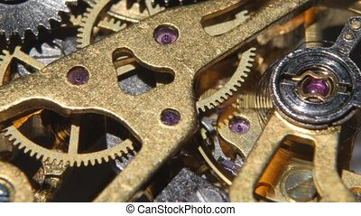 Mechanical watch. Close up - Mechanical watch, working clock...