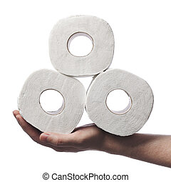 Toilet paper - Man holding three rolls of toiler paper on...