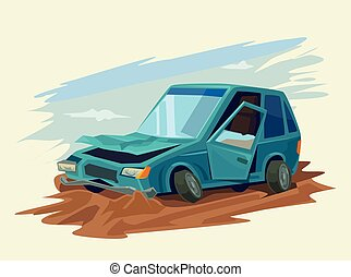 Car Accident Vector flat illustration