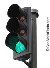 Green light - Traffic lights with the green light lit.