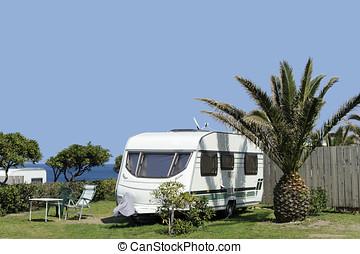 Caravans at camping near the sea