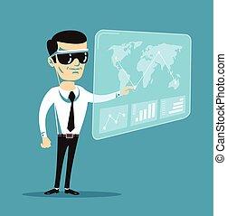 Virtual reality. Vector flat cartoon illustration