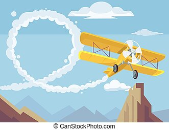 Plane drawing message Vector flat cartoon illustration