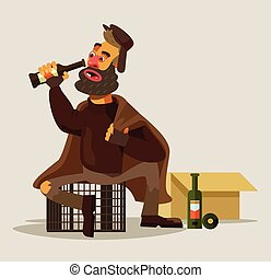 Homeless man drinking alcohol Vector flat illustration