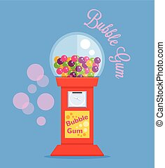 Bubble gum machine Vector flat illustration