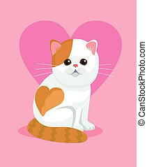 Cute cat with flat nose and heart on back. Vector flat...