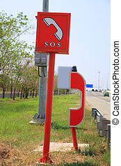 SOS telephone on the road