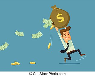 Businessman losing money Vector flat cartoon illustration