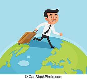 Business man run around the world Vector flat cartoon...