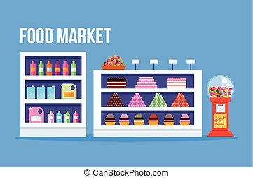 Supermarket Vector flat illustration