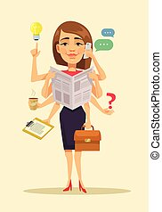 Multitasking woman. Vector flat cartoon illustration