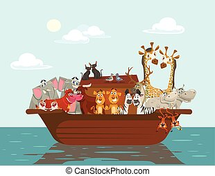 Noah ark. Vector flat cartoon illustration
