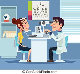 Patient visiting ophthalmologist Vector flat cartoon...