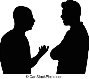 black silhouettes of two men standing and talking to each...