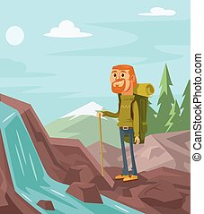 Happy tourists on the background of landscape Vector flat...