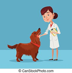 Doctor with dog Vector flat cartoon illustration