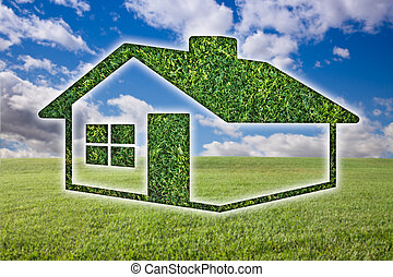 Green Grass House Icon Over Field, Sky and Clouds - Green...