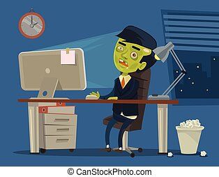 Zombie worker Vector flat cartoon illustration