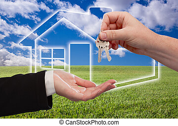 Handing Over Keys on Ghosted Home Icon, Grass Field and Sky...