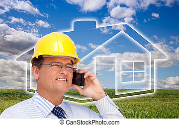 Contractor in Hardhat on Phone Over House, Grass and Clouds...