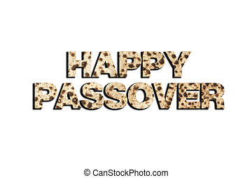 Happy Passover greeting on matzoh isolated on white