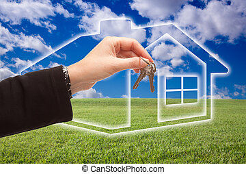 Handing Over Keys on Ghosted Home Icon, Grass Field and Sky