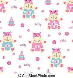 Seamless pattern with cute baby hippo