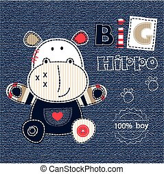 Baby background with cartoon hippo