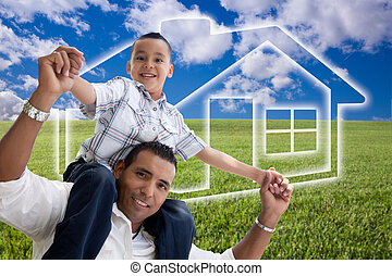 Father and Son Over Grass Field, Clouds, Sky and House Icon...