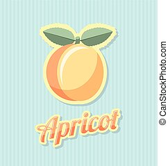 Retro apricot with title on striped background