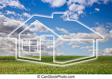 Dreamy House Icon Over Grass Field and Sky - Dreamy House...