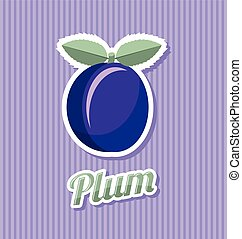 Retro plum with title on striped background