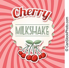 Cherry milkshake label in retro style on twisted background