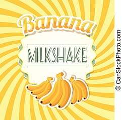 Banana milkshake label in retro style on twisted background