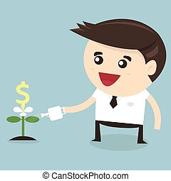Businessman watering dollar plant, flat design