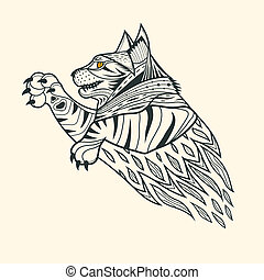 Cat tiger zentangle design,vector illustration