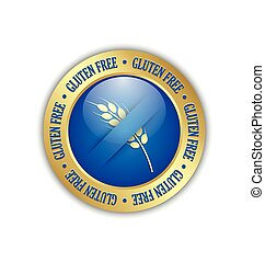 Gluten free badge - Golden and blue gluten free badge on...