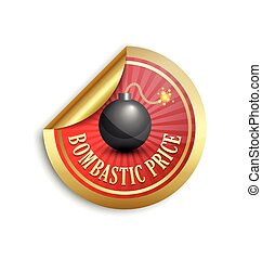 Bombastic price sticker - Golden bombastic price sticker for...