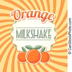 Orange milkshake label in retro style on twisted background