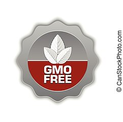 GMO Free icon or badge with leaves placed on white...